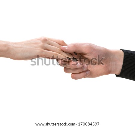 Female and male hands on a white background