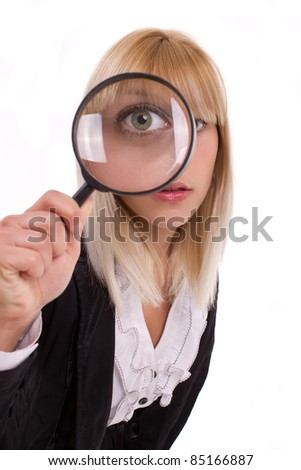 female detective looking for something