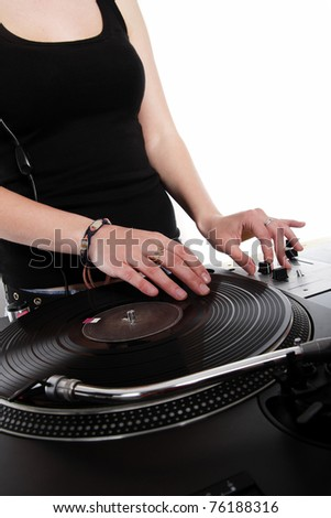 Dj Playing Music On Turntable Nightclub Stock Photo ...