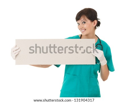 female doctor keeping  blank sign,white background