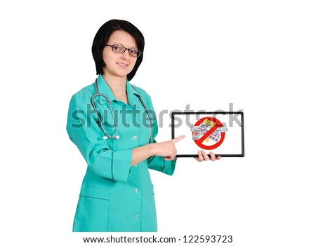 female doctor with touchpad and  stop drugs symbol