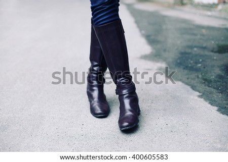 Female fashionable leather boots