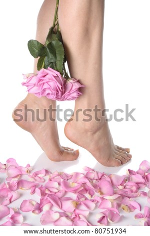 Female feet with flowers isolated over white background