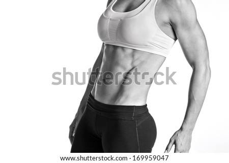 Female Fitness Body Builder with Intense Abs