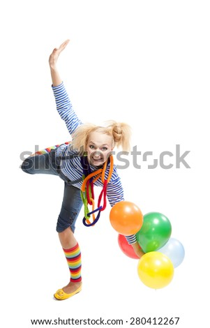 female funny clown with balloons isolated on white background
