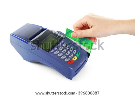 Female hand with credit card and bank terminal, isolated on white