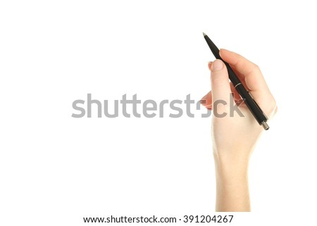 Female hand with pen on white background
