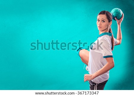 female handball player with a ball