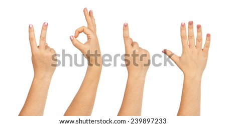 Female hands forming number 2015 isolated on white background