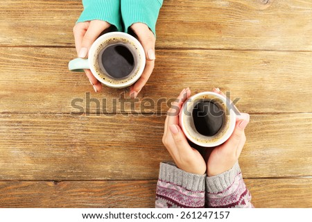 cup coffee on wooden table top stock photo 279450761 - shutterstock
