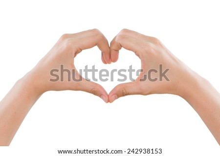 Female hands making a heart shape isolated on white background