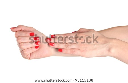 Female hands with manicure isolated on white