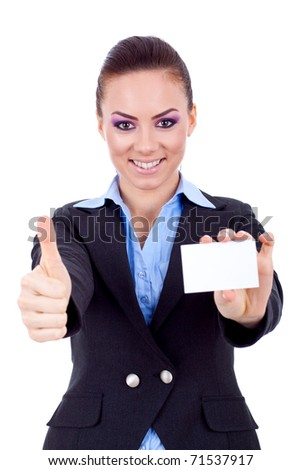 Female holding blank business card, making ok sign , focus on hands and card