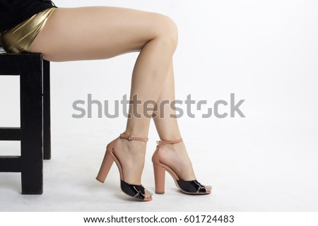 Slim Long Sexy Woman Legs On Stock Photo 79785961 ...