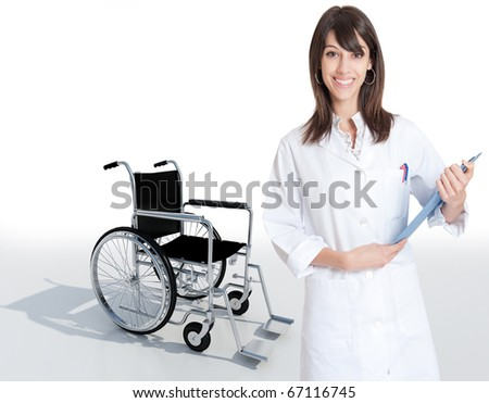 Female medical professional holding a folder with a wheelchair on the background