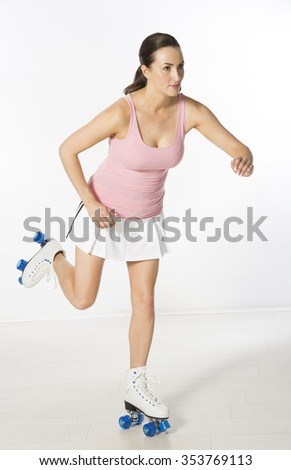 Female roller skater on quad skates