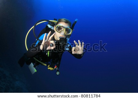 Female Scuba Diver swimming over a coral reef signals that she is Okay