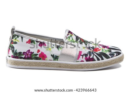 Female slip-on shoes with floral pattern