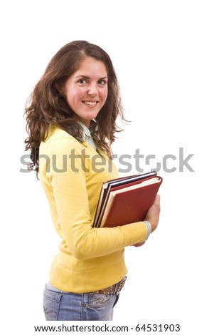 Female student isolated over a white background