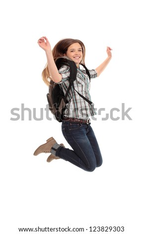 female student jumping of success isolated over a white background