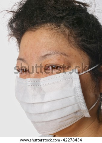 Female wearing Face mask. close up on white background