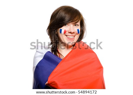 female wrapped in french flag, also flags on her cheeks, studio shoot isolated on white background