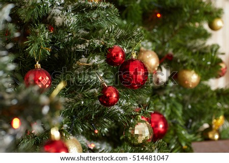 Festive background from Christmas tree decoration. Christmas and New Year background.