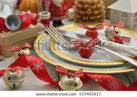 Festive dishes and decorations on a white background