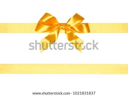 Set decorative golden bows horizontal gold festive golden gift ribbon and bow isolated on white background cutout negle Choice Image