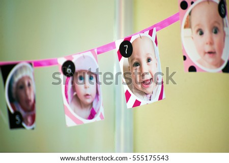 Festoon for first birthday personalized with photo of baby girl