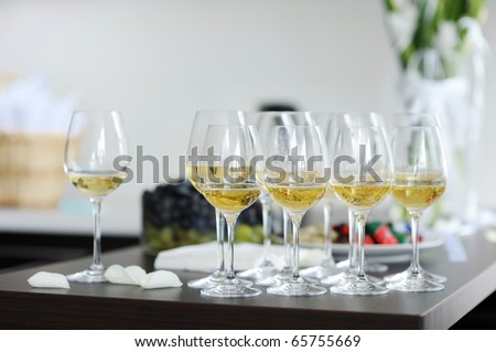 Few fancy glasses of champagne
