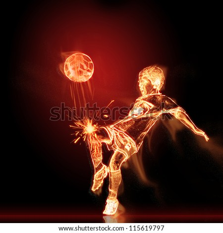 Fiery footballer with burning ball