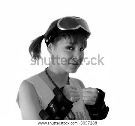 fighting young girl portrait over the white background