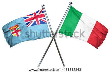Fiji flag with Italy flag, 3D rendering