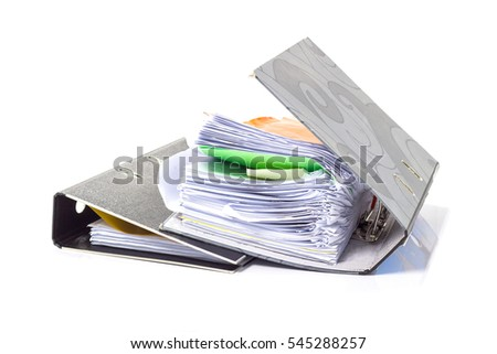file folder with documents and documents. retention of contracts. isolated white - copy space