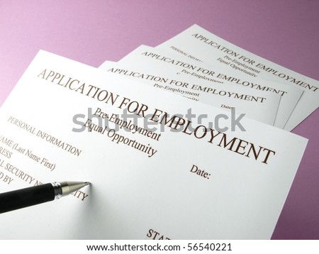 Filling out employment application forms