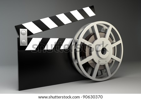 Film and clap board movies symbol. High resolution. 3D image