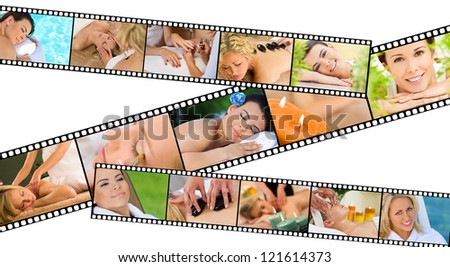 Film strip concept of young beautiful women relaxing at a health spa whilst having massages, hot stone treatments and manicures
