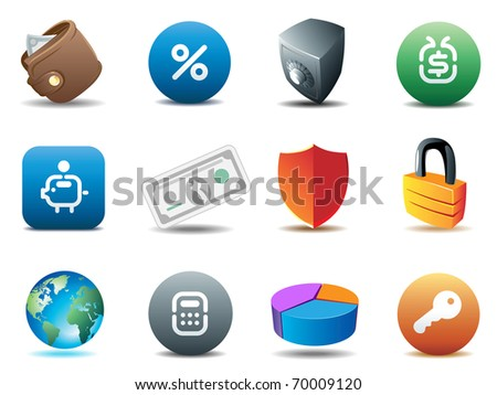 Finance and security icons. Raster version. Vector version is also available.