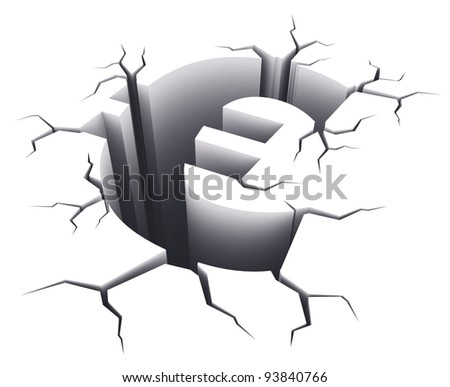Financial crisis concept: Euro sign shape hole with cracks isolated on white background