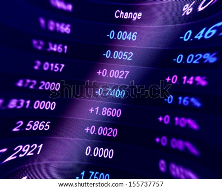 Financial Data On A Monitor Finance Data Concept