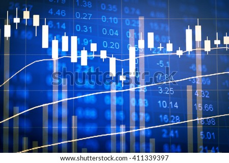 Financial data on a monitor. Finance data concept. stock market pricing abstract. Business background. Market Analyze.Bar graphs, diagrams, financial figures. Forex.