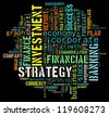 financial info-text graphics arrangement concept composed in words cloud on black background - stock