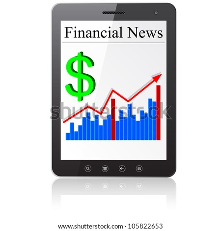Financial News dollar on Tablet PC. Isolated on white.   illustration.
