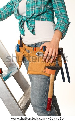 fine detail of woman carpenter at work