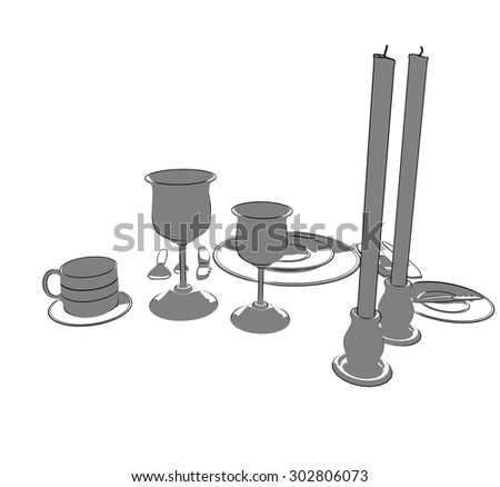 Fine Dining place setting, two tone
