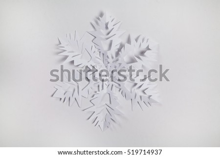 Fine paper snowflake cut out.