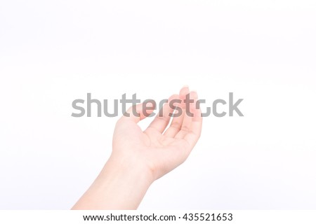finger hand girl symbols isolated concept open hands of giving pray and May god bless you on white background
