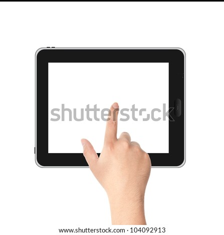 Finger pointing at tablet PC in landscape position with white screen isolated on white background