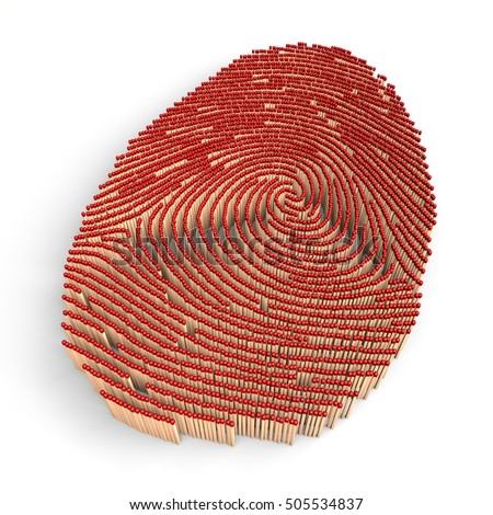 Fingerprint made of matches, isolated on white background, 3d rendering, illustration